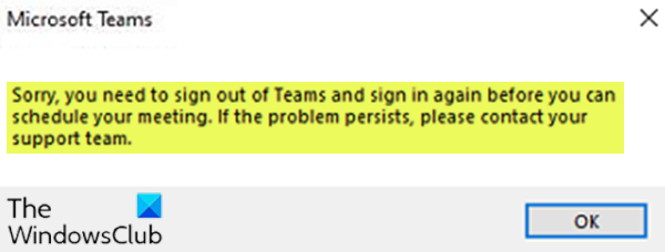 Sorry, you need to sign out of Teams and sign in again