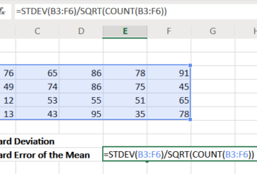 Standard error of mean in Excel