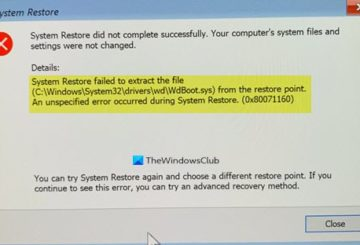 System restore failed to extract the file, error 0x80071160