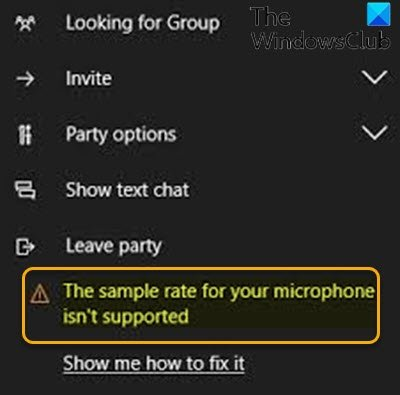The sample rate for your microphone isn't supported