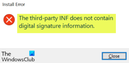 The third-party INF does not contain digital signature information