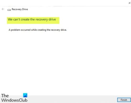We can't create the recovery drive
