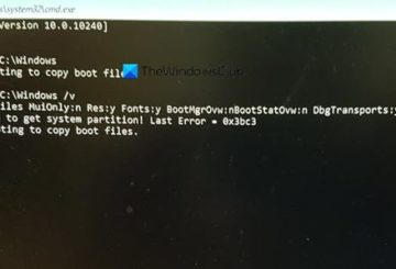 Windows Failure when attempting to copy boot files