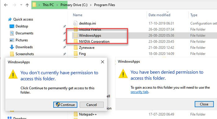 What is 'WindowsApps' hidden folder and why can't I access it?