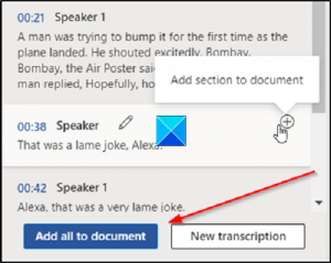 Add selection to document