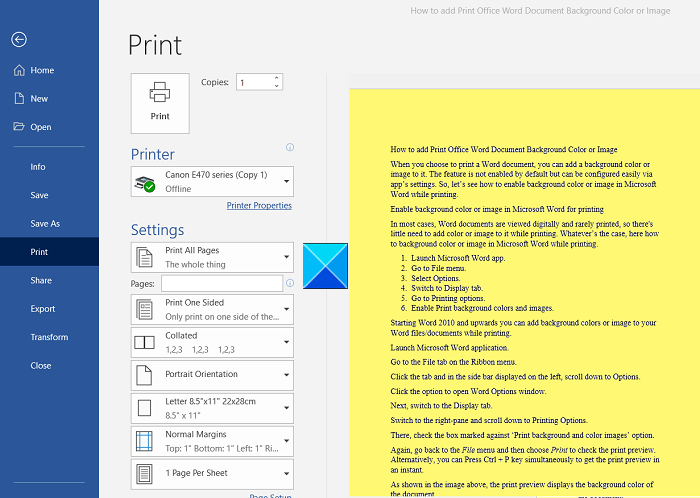 How to print background and color images in Word