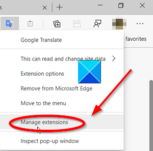 Edge browser manage extensions