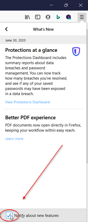 Firefox What's New Icon
