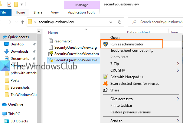 How to view Security Questions and Answers for Local Account in Windows 10