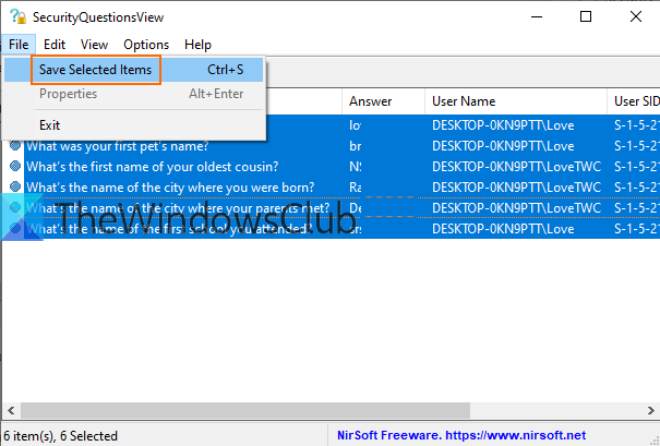 save security questions and answers using file menu