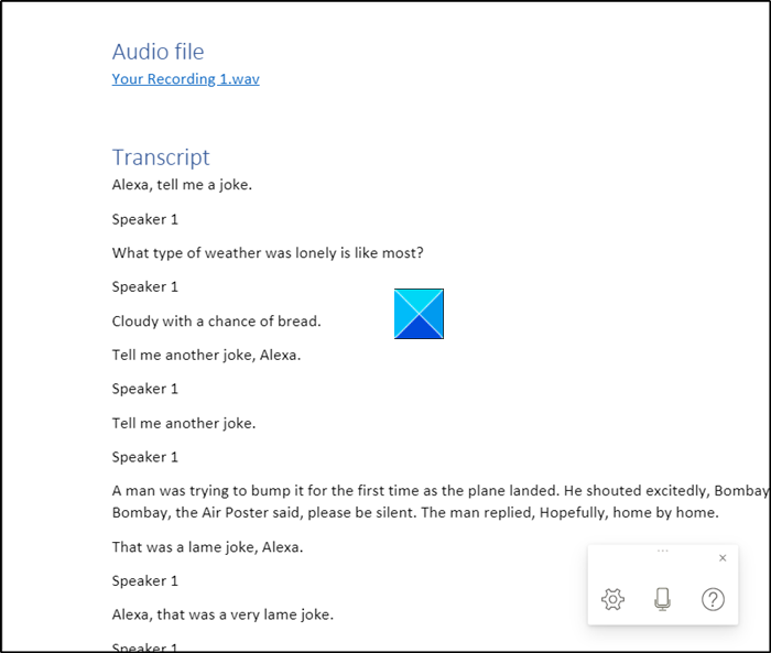 How to use Transcribe feature in Word for the web