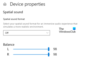 Change Sound Audio Balance for left and right channel on Windows 10