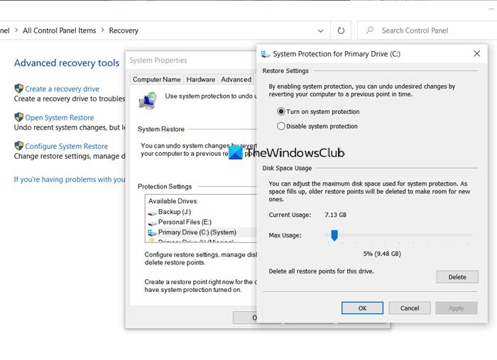 Configure System Restore Space