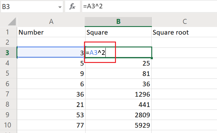 Find square in Excel
