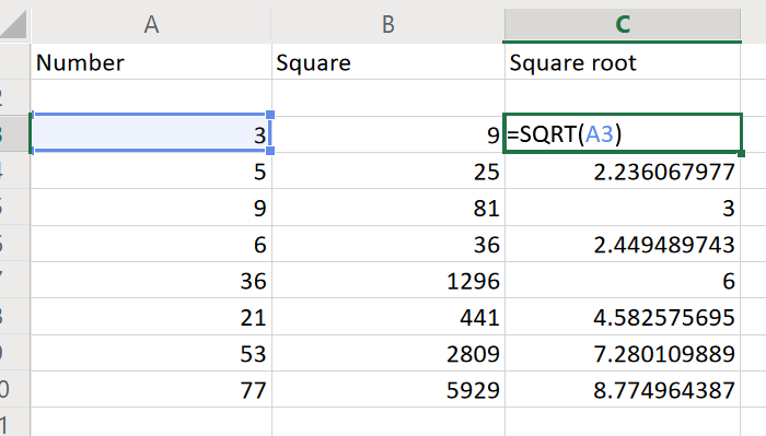 Find square root in Excel