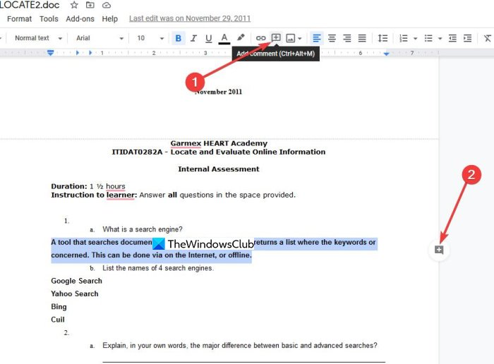 How to comment on Google Docs