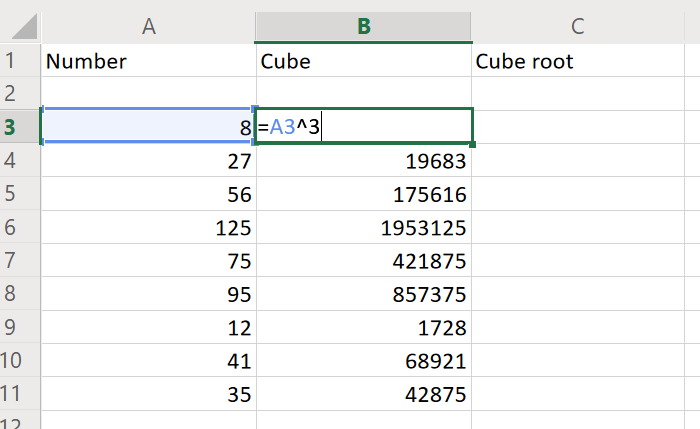 How to find cube in Excel