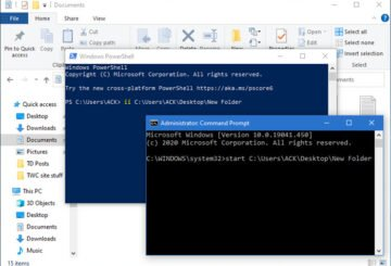 Open folders & files using Command Prompt & PowerShell