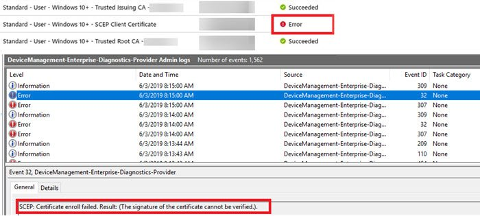 SCEP deployment to Windows 10 devices fails after you renew the CA certificate