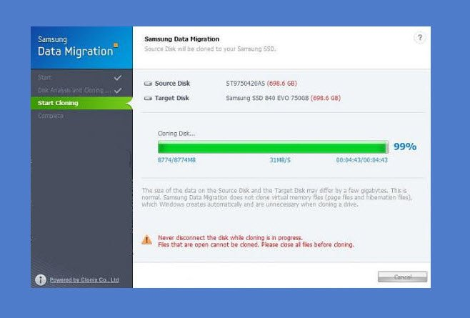 Samsung Data Migration stuck at 0%, 99%, 100%