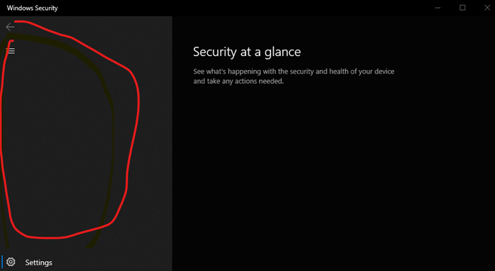 Security at a glance page in Windows Security is blank