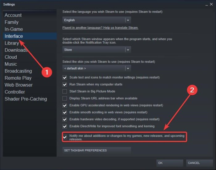 Steam Interface and Notify