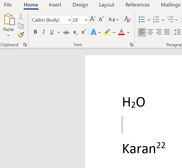 Superscript and subscript in Word