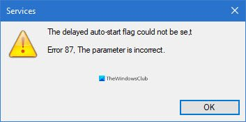 The delayed auto-start flag could not be set - Windows service error