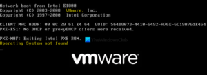 VMware operating system not found