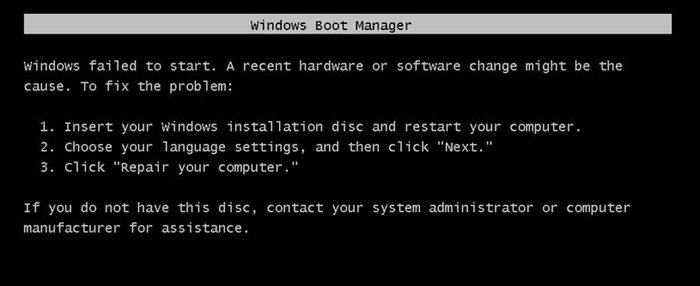 Windows failed to start. A recent hardware or software change might have