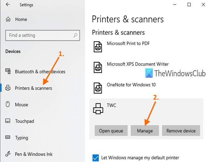 access printers and scanners page and use manage button for a printer