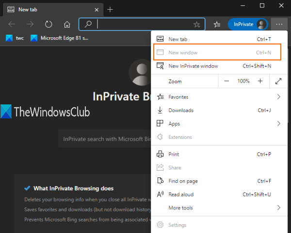 always start microsoft edge in inprivate window