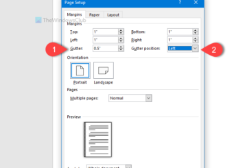 How to change default Gutter size and position in Word