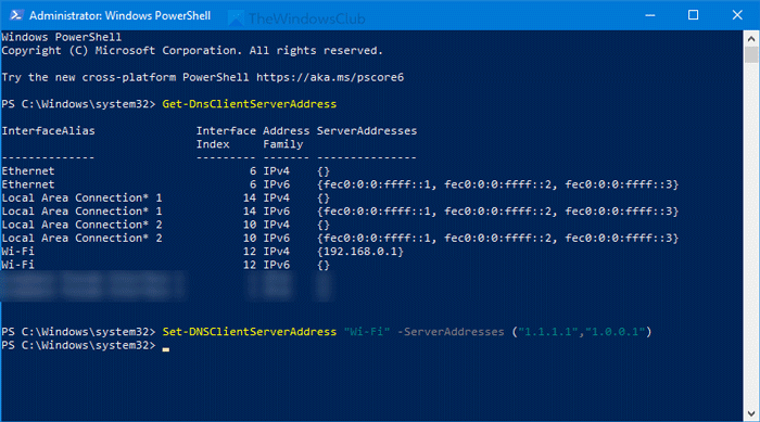 change DNS server using Command Prompt and PowerShell