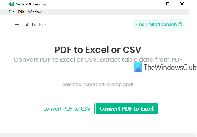 convert pdf table to excel or csv