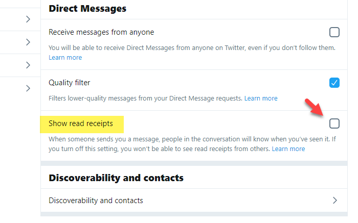 How to enable or disable read receipt for Twitter direct messages