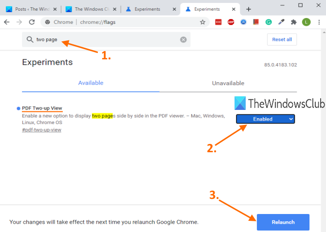 enable pdf two up view feature and relaunch browser