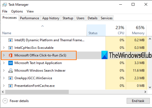 end microsoft office click to run processes