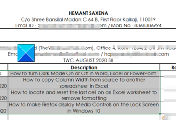 Excel texts centered