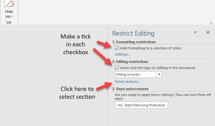How to lock a specific part of a document in Word