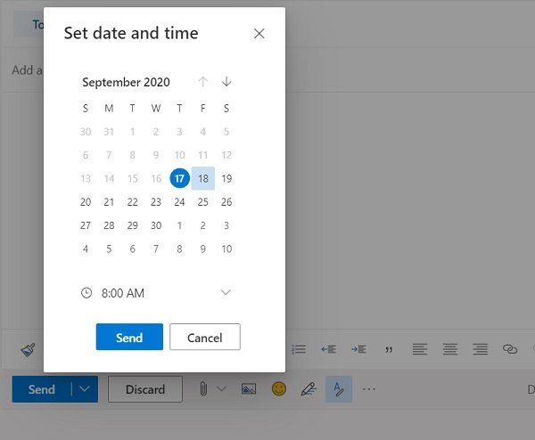 Schedule an email in Outlook.com