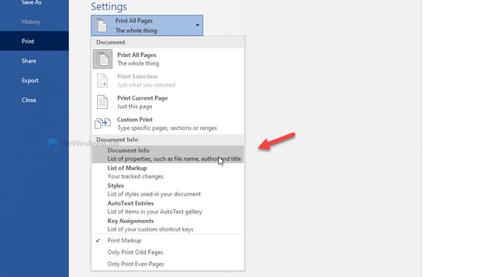 How to print document properties while printing Word document