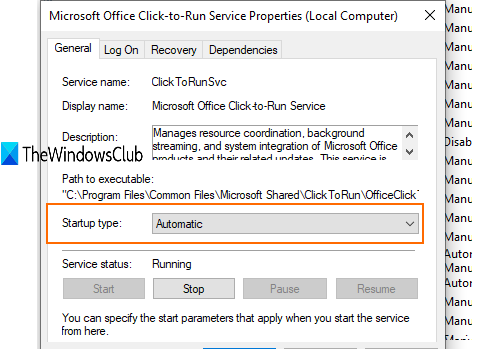 set microsoft office click to run service to automatic