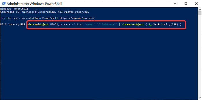 set process priority in powershell
