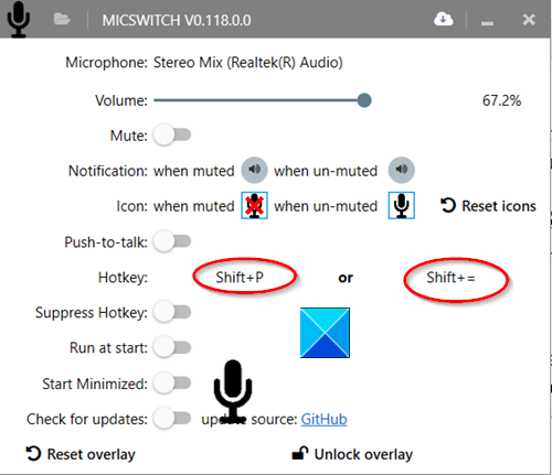 Mute the Microphone with a shortcut