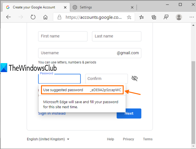 strong password suggestion box visible in microsoft edge
