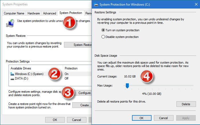 system restore disk space usage