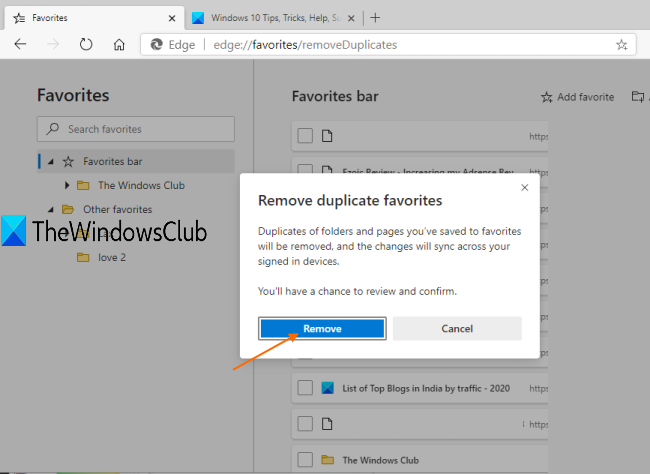 How to remove Duplicate Favorites in Microsoft Edge browser