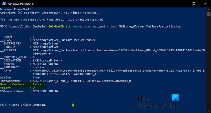 Check SMART Failure Predict Status of Drives in PowerShell