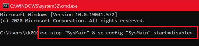 Command Prompt SysMain disable